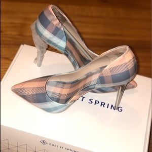 Beautiful pink and blue plaid heels